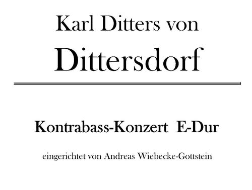 K. D. von Dittersdorf: Concerto E Major for Contra Bass pdf-file