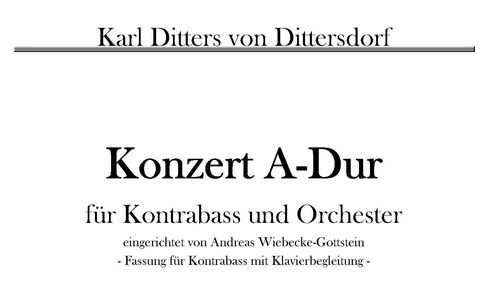 K. D. von Dittersdorf: Concerto A-Major for Double Bass pdf-file
